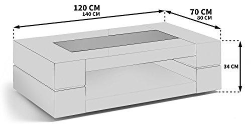 Couchtisch weiß Hochglanz mit Glasplatte Sera 140x80cm Glastisch