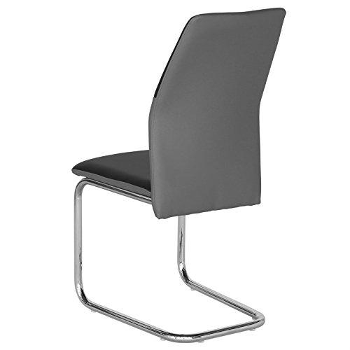 4er Set Schwingstuhl Esszimmerstuhl Freischwinger LEONA, Lederimitat in schwarz/grau, Metall verchromt