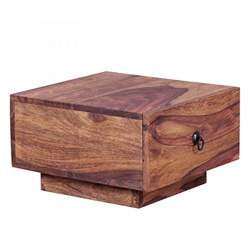 Nachttisch Massiv-Holz Sheesham Design Nacht-Kommode 25 cm hoch mit Schublade Nachtschrank Natur-Holz 40x40 cm