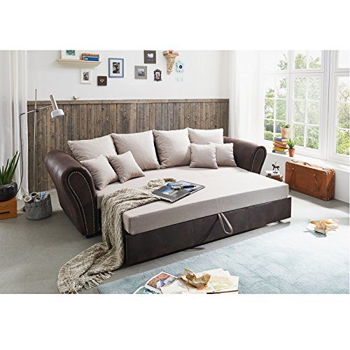 roller big sofa beige braun mit liegefunktion m bel24. Black Bedroom Furniture Sets. Home Design Ideas