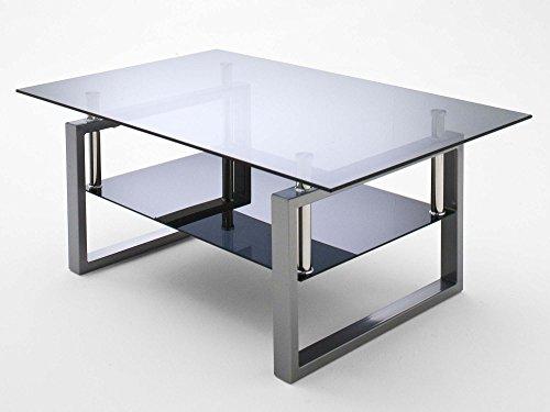 Couchtisch Glastisch Metalltisch Beistelltisch Loungetisch Grau Silber Alfa