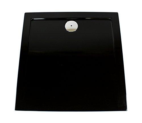 Art-of-Baan® - Extra flach Duschtasse, Duschwanne aus Acryl, glatt schwarz Hochglanz; 90x90x3,5cm inkl. Ablaufgarnitur