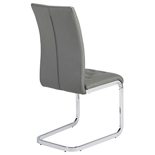 4er Set Esszimmerstuhl Schwingstuhl Freischwinger CHLOE, in grau, Metallgestell hochwertig verchromt