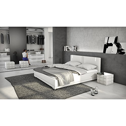 innocent polsterbett aus kunstleder wei 180x200cm mit led und lautsprecher caspani. Black Bedroom Furniture Sets. Home Design Ideas