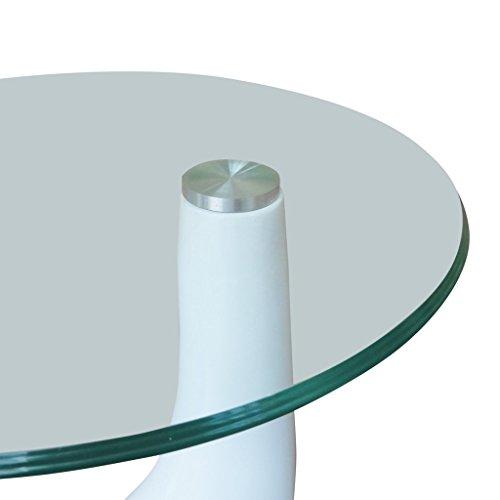 """vidaXL Couchtisch """"LOUNGE TEAR"""" DESIGN GLAS Beistelltisch weiß Glastisch Tisch NEU 1"""