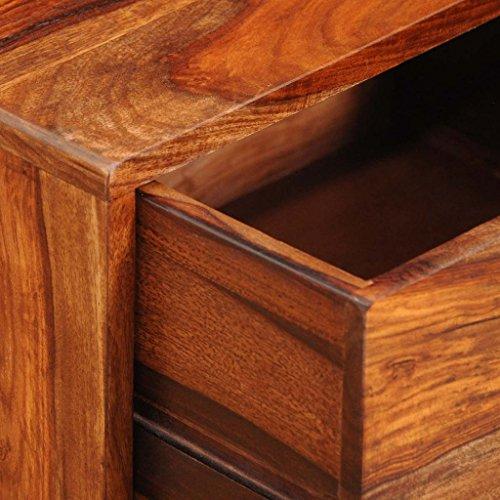 Anself Nachttisch Nachtschrank Nachtkonsole Beistelltisch aus Sheesham Massivholz mit Schublade Vintage 55 cm