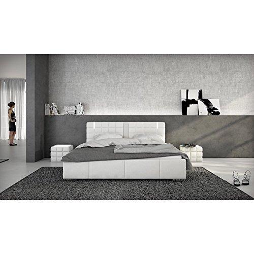 innocent polsterbett aus kunstleder wei 180x200cm mit led und lautsprecher century mit matratze. Black Bedroom Furniture Sets. Home Design Ideas