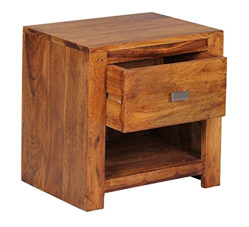 Nachttisch Malatya, Nachtschrank Beistelltisch, Sheesham Massivholz, 40x40x30cm