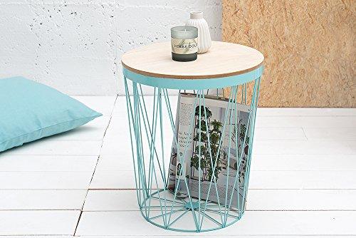 Moderner Couchtisch Beistelltisch STORAGE II mint mit Holzdeckel Korb Aufbewahrung Tisch mit Eiche Ablage Aufbewahrungskorb