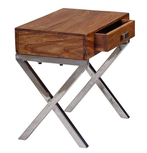 WOHNLING Nachttisch Massiv-Holz Sheesham Nacht-Kommode 45 cm 1 Schublade mit Metallbeine Nachtschrank Landhaus-Stil Echt-Holz Nachtköstchen dunkel-braun Nacht-Konsole Natur-Produkt Schlafzimmer-Möbel