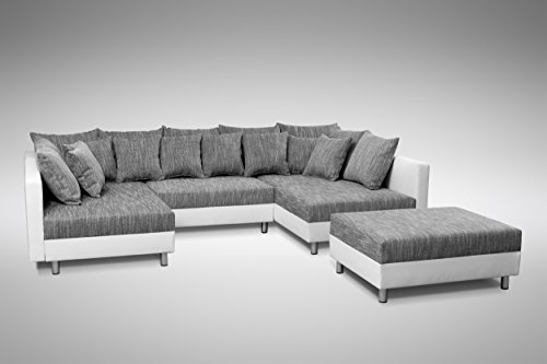 sofa couch ecksofa eckcouch in weiss hellgrau eckcouch mit hocker minsk xxl m bel24. Black Bedroom Furniture Sets. Home Design Ideas