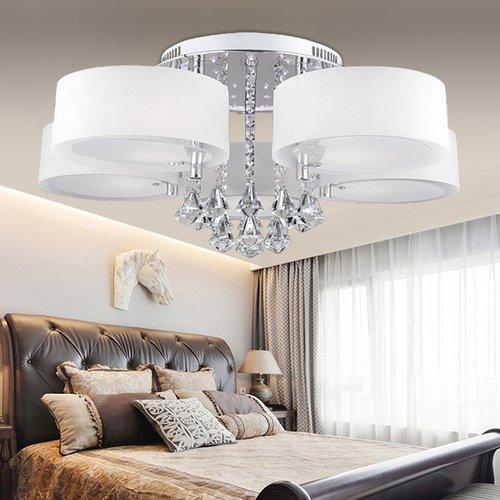 VINGO® Modern 5FL LED Deckenleuchte Acryl Pendelleuchte Kristall Dimmbar Wohnzimmer Hängeleuchte Fernbedienung