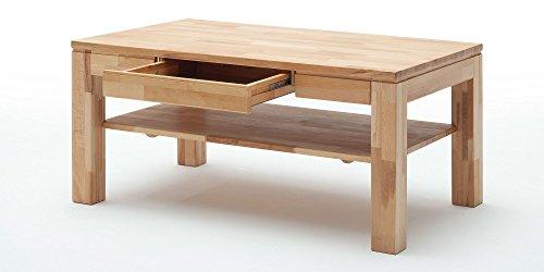 Couchtisch Holz Massiv Buche mit Schublade Massivholz Wohnzimmer Tisch Kernbuche Lukas