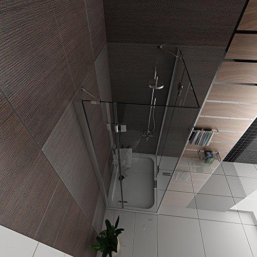 Hochwertige Eckeinstieg Duschkabine mit Nano Beschichtung aus ESG Glas 90x120 cm (Drehtür mit Festfeld) von Alpenberger