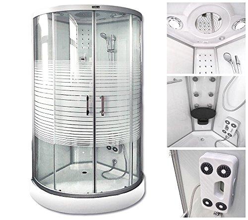 Home Deluxe White Pearl 90x90 cm Duschtempel, inkl. Dampfsauna und komplettem Zubehör