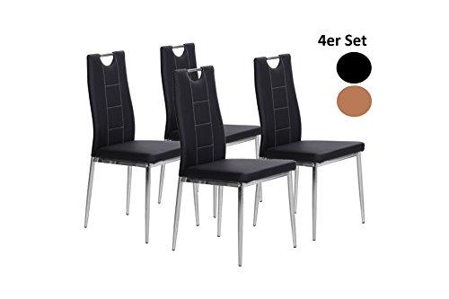 Cavadore Stuhl 4-er Set Babsi / Stühle ohne Armlehne in modernem Design / Lederimitat / Stuhlset Schwarz / 51,5 x 42 x 99 cm (T x B x H)