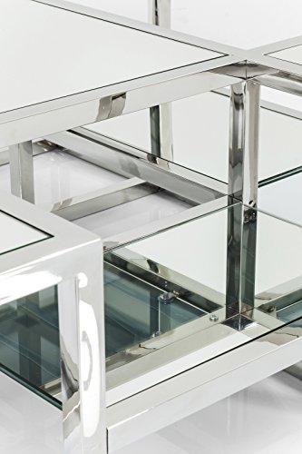 Kare Steps Mirror Couchtisch, Andere, Silber, 100 x 100 x 36 cm