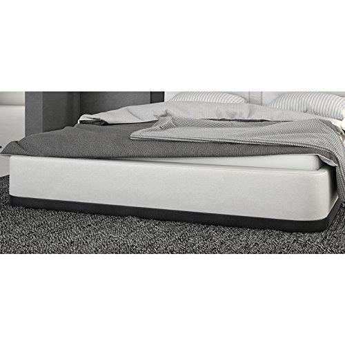 Innocent Polsterbett aus Kunstleder weiß schwarz 180x200cm mit LED und Lautsprecher Riffina mit Lattenrost