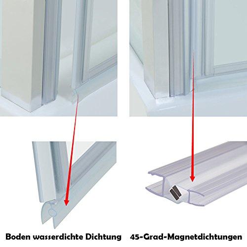 Neueröffnung900x900mm Duschkabine Rechteck Eckeinstieg Rahmenlos Schwingtür + Seitenwand