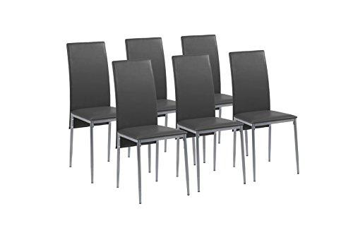 Cavadore Stuhl 6-er Set Milan / Stühle ohne Armlehne in modernem Design / Lederimitat / Stuhlset Schwarz / 49 x 40 x 95,5 cm (T x B x H)
