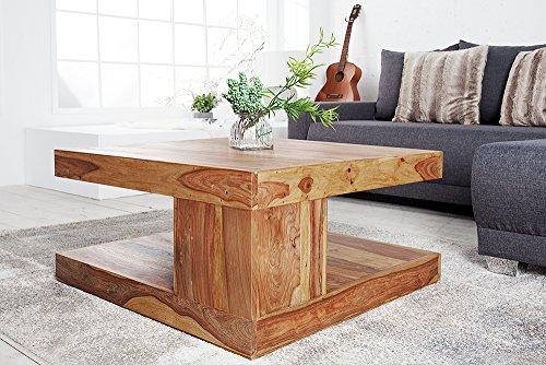 Massiver Edelholz Couchtisch GIANT Sheesham 80cm Stone Finish Tisch Beistelltisch