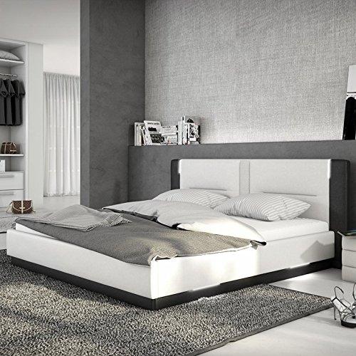 Innocent Polsterbett aus Kunstleder weiß schwarz 180x200cm mit LED und Lautsprecher Salero mit Matratze