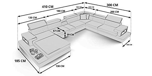 Leder Wohnlandschaft XXL U-Form schwarz Ledersofa mit Beleuchtung Kenia Polsterecke Couchgarnitur Teilleder (Spiegelverkehrt)