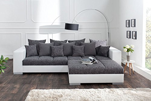 design xxl sofa big sofa island in wei grau charcoal strukturstoff inkl kissen m bel24. Black Bedroom Furniture Sets. Home Design Ideas