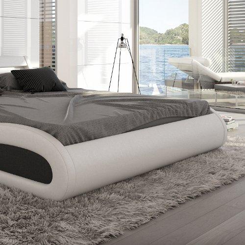 Innocent Polsterbett Kunstleder mit LED-Beleuchtung Paladium weiß / schwarz, 160x200 cm