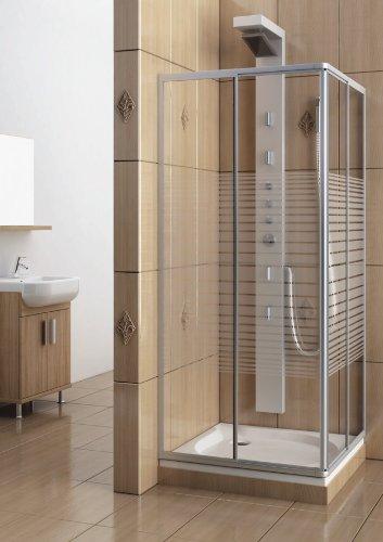 Eckeinstieg Duschkabine Echtglas Sicherheitsglas mit Streifen Silberne Profile 75x75 75x80 75x90 90x75 80x75