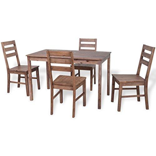 vidaXL Akazie Massivholz Essgruppe Sitzgruppe Esszimmer Tischset Esstisch Stühle