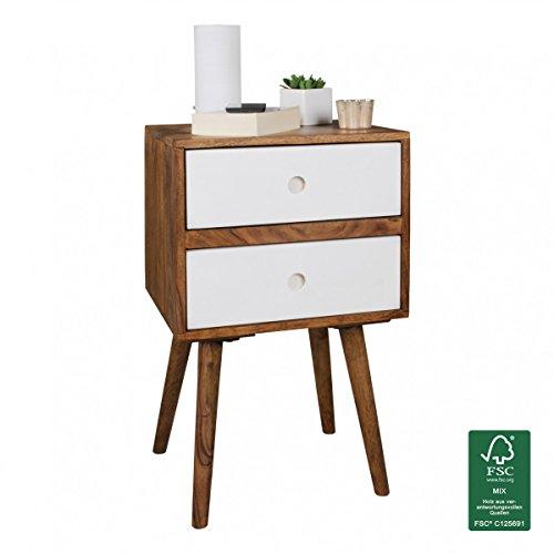 FineBuy Retro Nachtkonsole Sheesham-Holz Nachttisch mit 2 Schubladen dunkelbraun / weiß | Design Nachtkästchen 40 x 35 x 55 cm | Kleines Nachtschränkchen