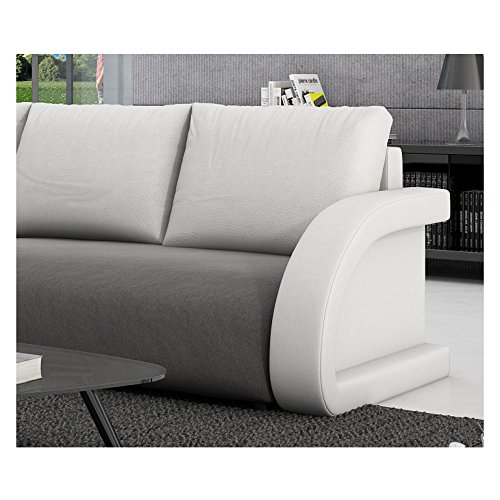innocent ecksofa mit schlaffunktion textil grau kissen aus kunstleder wei anantara m bel24. Black Bedroom Furniture Sets. Home Design Ideas