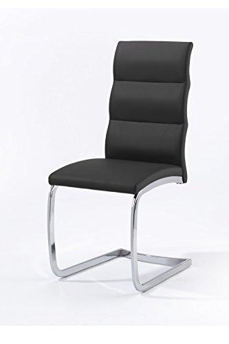 Cavadore Schwingstuhl4er Set Bow / 4 Freischwinger ohne Armlehne in elegantem Design / Lederimitat / Stühle Schwarz / 44 x 101 x 58 cm (B x H x T)