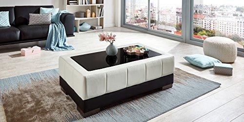 couchtisch kunstleder wohnzimmertisch schwarz wei mit glasplatte schwarzglas beverly glastisch. Black Bedroom Furniture Sets. Home Design Ideas