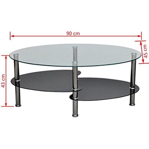vidaXL Couchtisch Beistelltisch Tisch Wohnzimmertisch Glastisch 3 Platte schwarz 240209