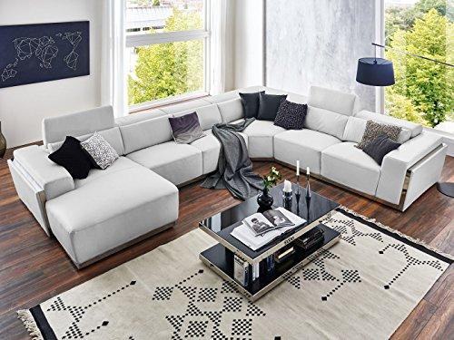 Wohnlandschaft xxl wei leder elma couch chrom zierblende for Xxl wohnlandschaft leder ottomane