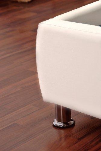 SAM® Polsterbett 90x200 cm Zarah, weiß, pflegeleichtes Design-Bett mit Kunstlederbezug, abgestepptes Kopfteil