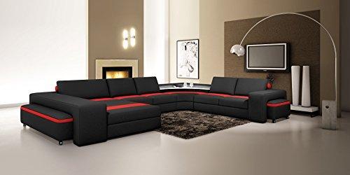 polsterecke leon mit beleuchtung und 2 hocker farbwahl wohnlandschaft polsterecke couchgarnitur. Black Bedroom Furniture Sets. Home Design Ideas