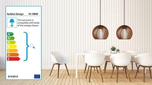 Pendelleuchte aus Holz - Moderne Designer Deckenleuchte - viele Farben erhältlich Taupe