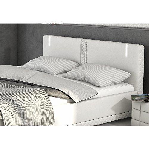 Innocent Polsterbett aus Kunstleder weiß 180x200cm mit LED und Lautsprecher Caspani mit Lattenrost