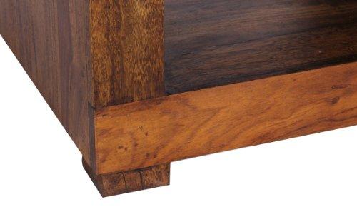 WOHNLING Sheesham Massiv-Holz Couchtisch 50 x 50 cm Wohnzimmer-Tisch Design dunkel-braun Landhaus-Stil Beistelltisch Natur-Produkt Wohnzimmermöbel Echtholz Unikat quadratisch modern Massivholzmöbel