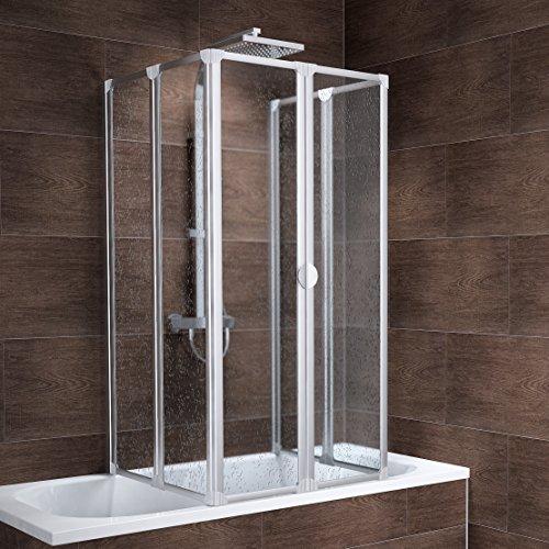 Schulte Duschabtrennung Badewanne Kunstglas alunatur 2x3 teilig 2 x 140x104 cm München, 1 Stück, 4056397001294