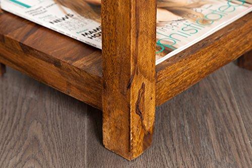 Massiver Design MAKASSAR Beistelltisch Sheesham 70cm stone finish Nachttisch Telefontisch Tisch