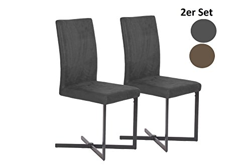 "Cavadore Schwingstuhl 2-er Set ""Colt"" / 2 Freischwinger ohne Armlehne in modernem Design / Lederimitat / Stuhl Schwarz / 56 x 42 x 98 cm (T x B x H)"