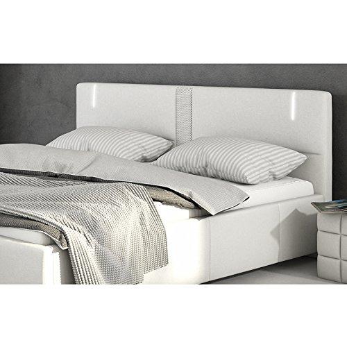 Innocent Polsterbett aus Kunstleder weiß 180x200cm mit LED und Lautsprecher Accura mit Matratze