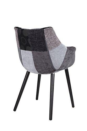 Zuiver 1100267 Stuhl twelve patchwork set of 2, Stoff, grau, 60 x 60 x 82 cm