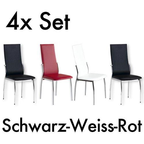 Esszimmer Stuhl DORIS - Set mit 4 Stühlen - chrom - Farbauswahl, Farbe:Rot