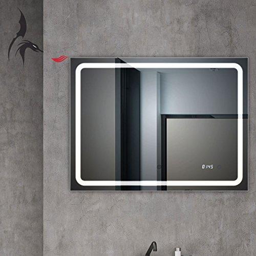 TOP AKTION WEIHNACHTEN! Badspiegel mit Uhr, Bruchsal 80x60cm, Badezimmerspiegel mit Licht, Energieklasse A+