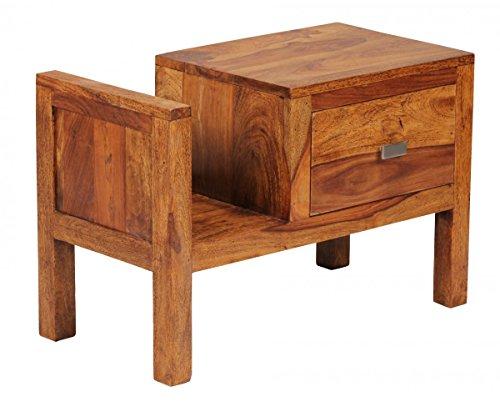 FineBuy Nachttisch Massiv-Holz Sheesham Nacht-Kommode 40 cm Schublade mit Zeitungsablage Nachtschrank Echt-Holz Nachtkästchen dunkel-braun Landhaus-Stil Nachtkonsole Natur-Produkt Schlafzimmer-Möbel